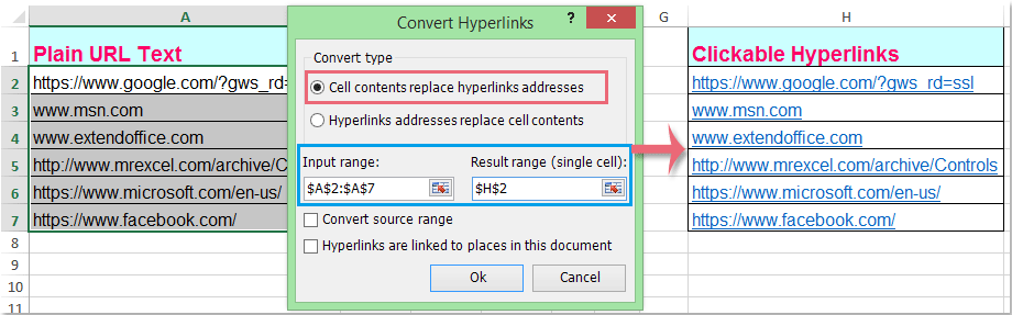 doc convert addresses to hyperlinks 5