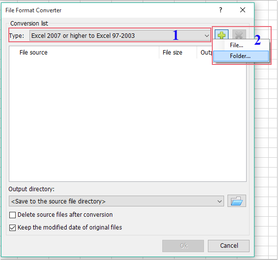 How to convert multiple xlsx formats to xls formats or vice