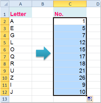 How to convert letter to number or vice versa in Excel?