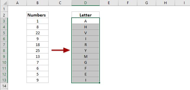 làm thế nào để chuyển đổi chữ cái thành số hoặc ngược lại trong excel?