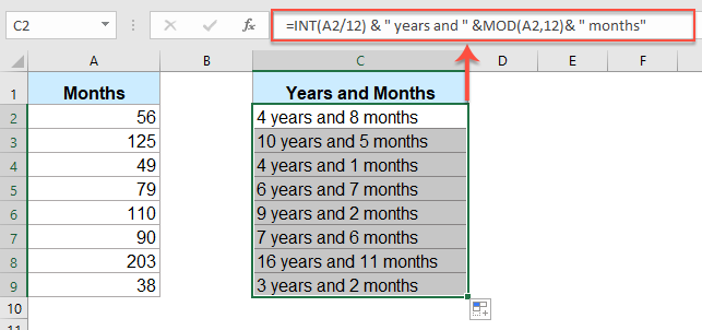 Months To Yearonths In Excel