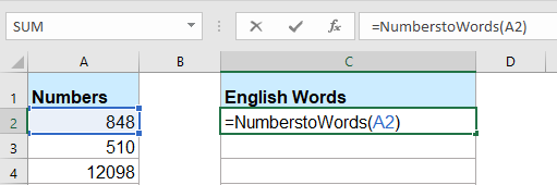 How to quickly convert numbers to English words in Excel?