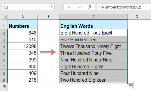 Numbers To English Words In Excel