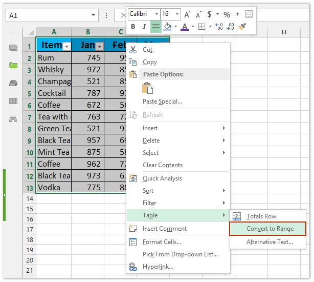 How to convert range to table or vice versa in Excel?