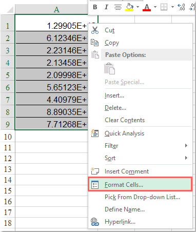 How to convert scientific notation to text or number in Excel?