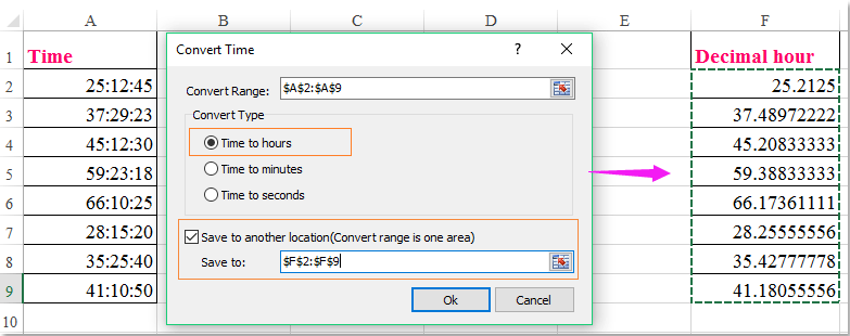 doc convert time to decimal over 24 5