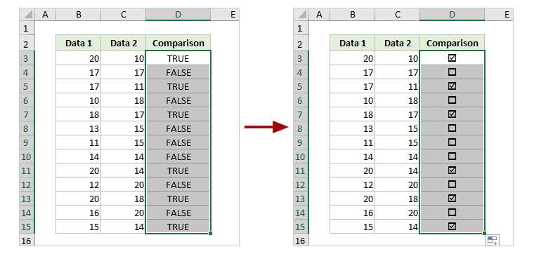 checkbox in excel