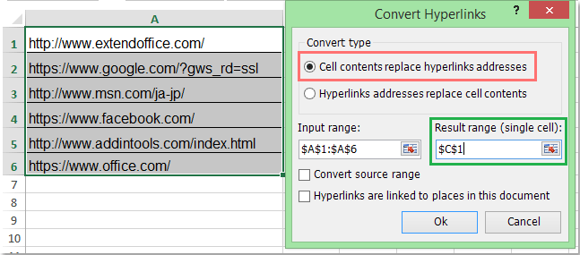 How to convert url text to clickable hyperlink in Excel?