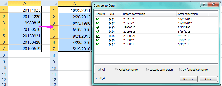 How to convert yyyymmdd to normal date format in Excel?