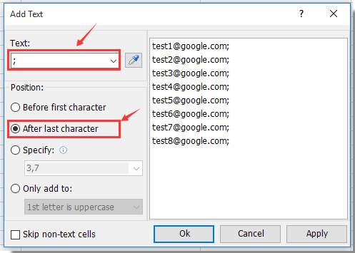 How to quickly convert or copy email addresses column in