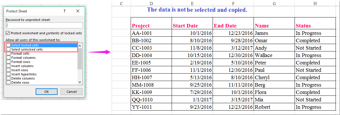 doc copy data in protect sheet 1