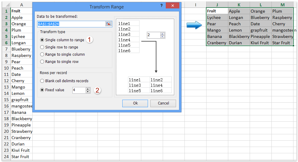How to copy horizontal paste vertical or vice versa in Excel?
