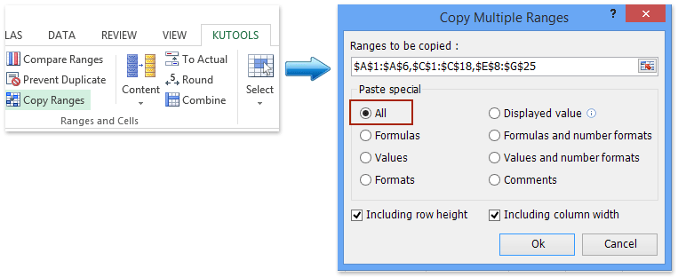 How to copy multiple selections or ranges in Excel?