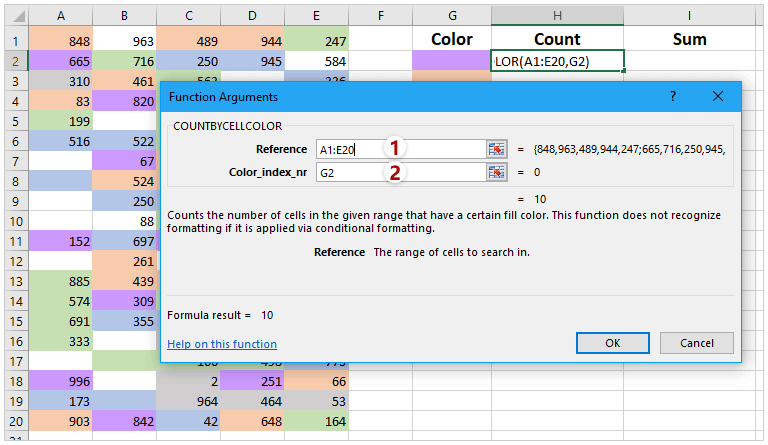 How to count and sum cells based on background color in Excel?