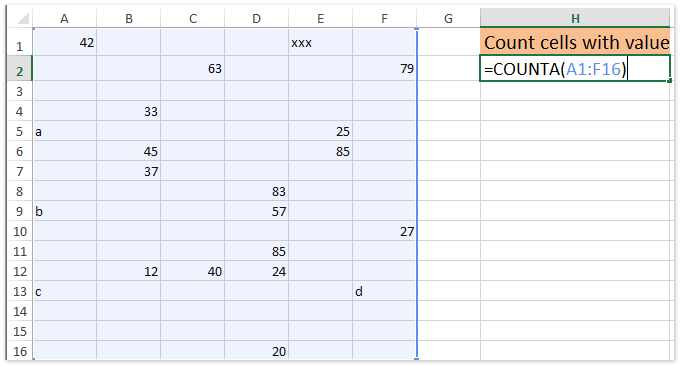 doc count cells with value 1