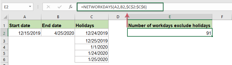 How To Count The Number Of Days Workdays Weekends Between Two Dates In Excel