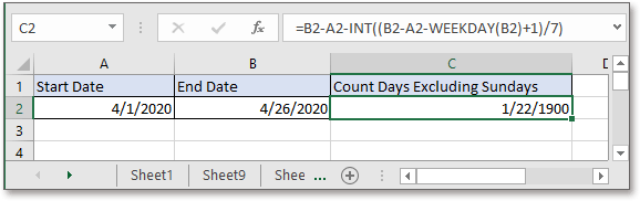 doc count days excluding sundays 2