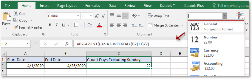 doc count days excludes sunday 2