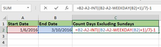 除了星期日2之外,doc计算天数