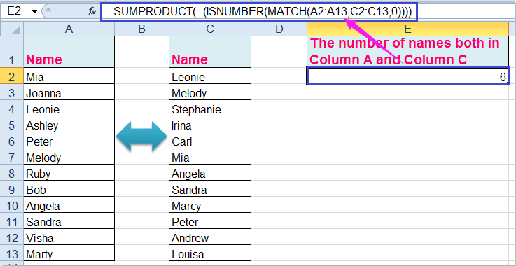 How to count duplicates between two columns in Excel?