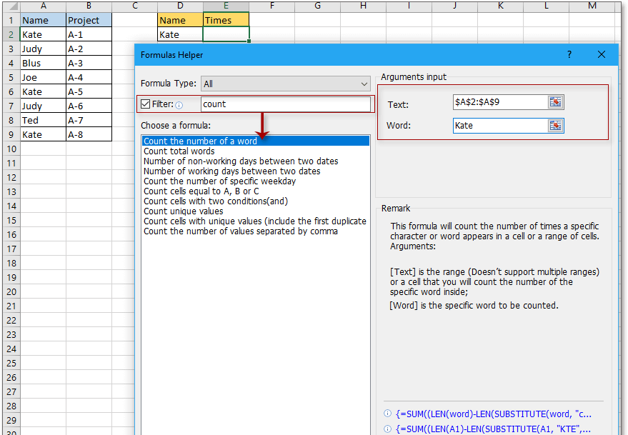doc kutools count times of a word appears 2