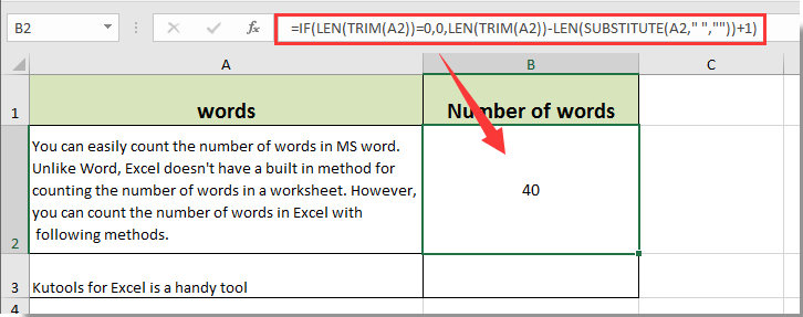 How to count the number of words in a cell or a range cells ...