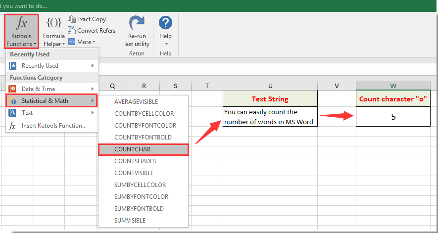 How to count the number of words in a cell or a range cells in Excel?