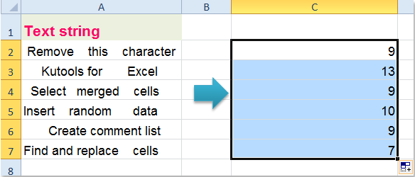 How to count the number of spaces of text string in Excel?