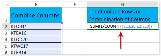 doc count unique rows combinations of columns 2