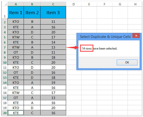 doc count unique rows combinations of columns 7