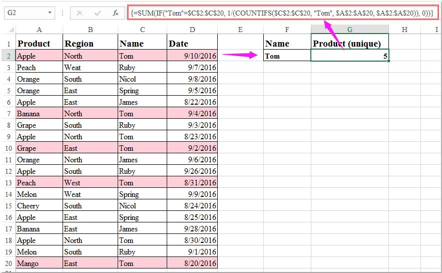 doc count unique with multiple criteria 2