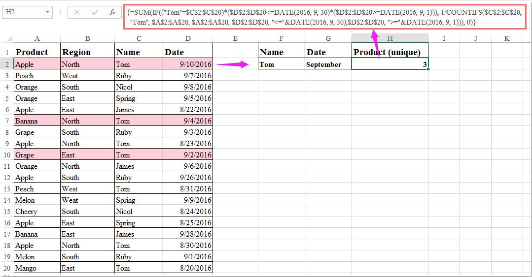 doc count unique with multiple criteria 4