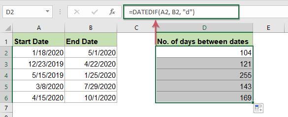 كيف تحسب عدد الأيام أو الأسابيع أو الأشهر أو السنوات بين تاريخين