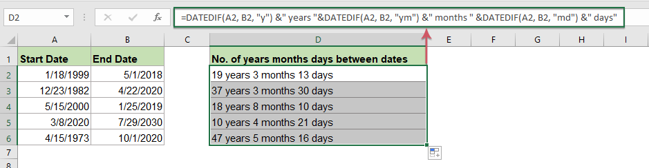 How To Count The Number Of Days Weeks Months Or Years Between Two Dates
