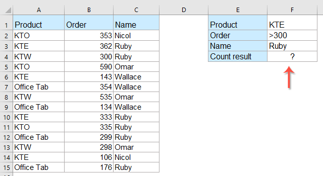 How to countif with multiple criteria in Excel?