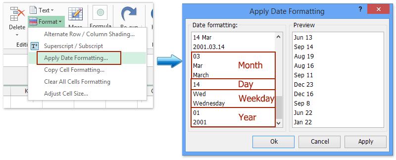tel de occurrences per dag, maand, weekdag, jaar alleen 1