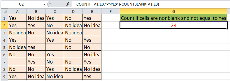 doc countif nonblank not equal 3