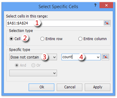 How to count if cell does not contain text in Excel?