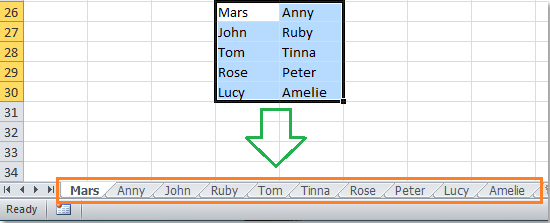 How to create sequence worksheets from a range of cells in
