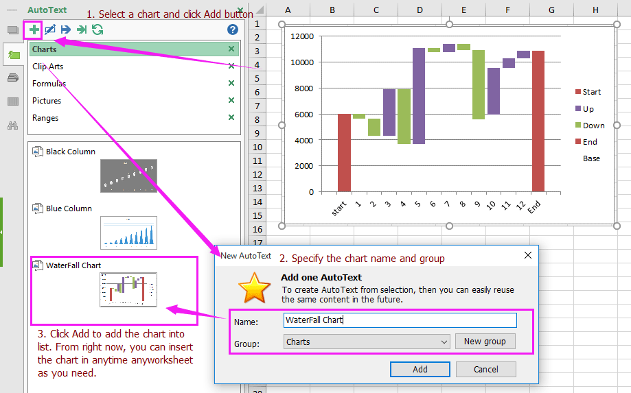 excel add in tools for inserting waterfall chart anytime