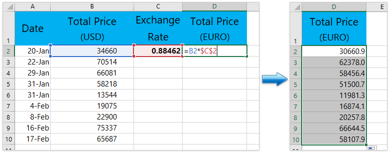 How to convert currencies in Microsoft Excel?