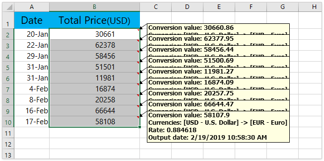 The Converted Values Will Be Filled Into Original Cells At Same Time Detailed Information Inserted As Comments See Screenshot