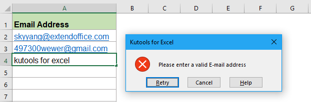 How to validate email addresses in a column of worksheet?