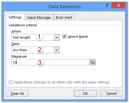 How to limit characters length in a cell in Excel?
