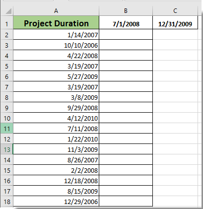 How to determine if a date falls between two dates or weekend in Excel?