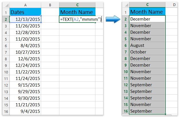 How to convert date to weekday, month, year name or number in Excel?
