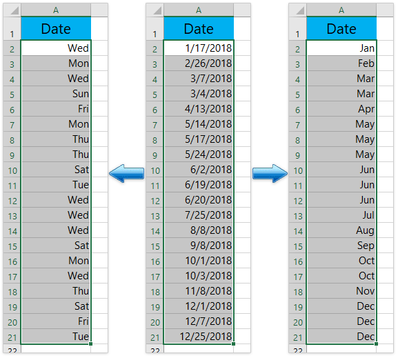 How to convert date to weekday, month, year name or number
