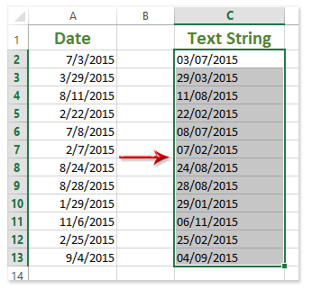 How to convert dates to text or text formatting date to