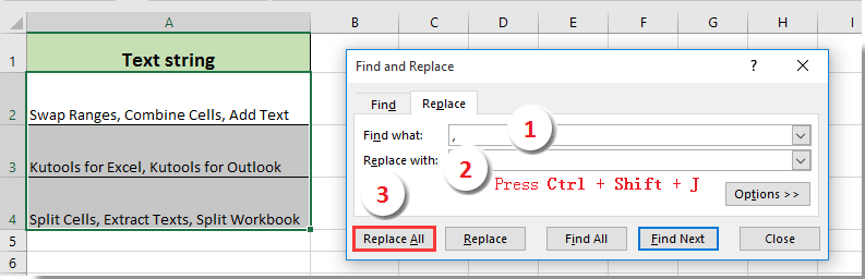 How to replace commas with newlines (Alt + Enter) in cells