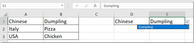 doc default waarde door een andere cel drop-down lijst 3